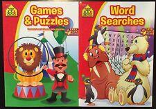 Set Of 2 School Zone Kids Children Word Find, Games, Crosswords, Riddles Books