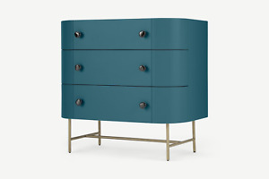 MADE.com Tandy Living Room Stylish Teal Blue Three Chest of Drawers - RRP £499