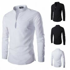 Men's Long sleeve Stand collar T-Shirt Pullover Leisure Tees Blouses Occident D