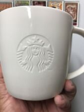 Starbucks 2010 All White Coffee Cup Mug V 20oz Venti Embossed Logo.    Pristine.