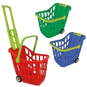 Plastic Simulation Kids Shopping Trolley Cart Basket Hand Push Pretend Role Play