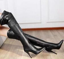 sexy womens Stilettos Point Toe side zipper party Over The Knee Thigh High Boots
