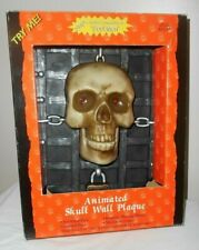 Gemmy Animated Skull Wall Plaque Motion Activated sings Soul Man Eyes Light Box