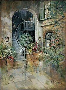 Palm Court Impressionistic Art Print by L Gordon