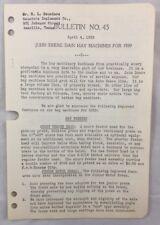 1939 Antique John Deere Bulletin / Jd Dain Hay Machines Presses Rakes Loaders