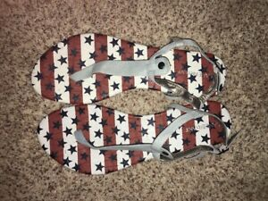 Lane Bryant Sandals T-Strap Stars Stripes Wide 8 9 10 11 12 NWOB Store Display