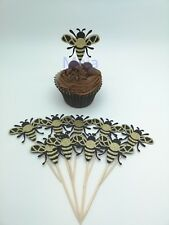 10 x Glitter Gold BEE Cupcake Sticks Topper Decoration Birthday Party