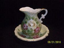 Norcrest L327 Pale Green Floral Porcelain Ewer & Bowl