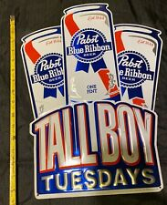 Pabst Blue Ribbon Beer Tallboy Tuesdays One Pint Embossed Metal Sign 17''x11'&# 039;