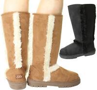 New Womens Ladies Winter Buckle Snow Flat Warm Flat Knee High Fur Lined Boots