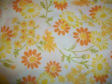 J C Penney Twin Size Flat Sheet Yellow Orange Flower Power Mid Century Modern