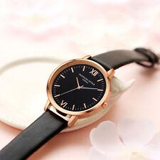 Fashion Women Leather Band Stainless Steel Dial Dress Quartz Analog Wrist Watch