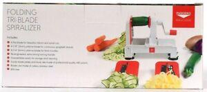 Paderno World Cuisine Folding Tri-Blade Spiralizer Disassembles For Easy Storage
