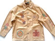 Vintage Ralph Lauren Polo Country Khaki Indian Painting Leather Coat Jacket sz L