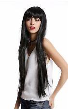 Perruque dames perruque Carnaval Halloween très longue poney Noir Lisse ylx-9501