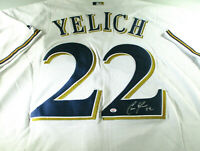 CHRISTIAN YELICH / AUTOGRAPHED MILWAUKEE BREWERS PRO STYLE BASEBALL JERSEY / COA