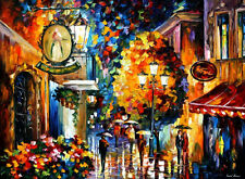 """Cafe In The Old City  — Oil Painting On Canvas By Leonid Afremov. Size: 40""""x30"""