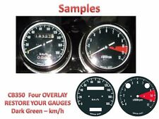 Honda CB350 K Overlay Cafe Racer Gauge Face Decal Applique KMH Dial Clocks Green