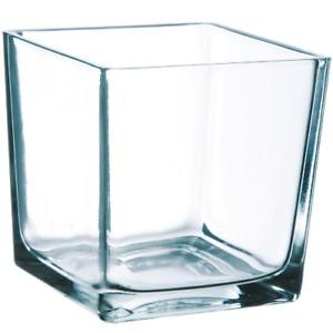 1 x GLASS SQUARE Cube Vase ART DECORATION  MULTI BUY 10 x 10 x 10cm SALE