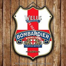 Wells Bombardier Beer Advertising Bar Old Pub Metal Pump Badge Shield Steel Sign