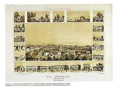 "1976 Vintage CITY ""CITY OF LOS ANGELES, L.A. COUNTY (1857)"" Color Art Lithograph"