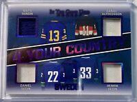 Game Used Hockey2020  4YC-10 4 Your Country Sundin/Alfredsson/Sedin/Sedin