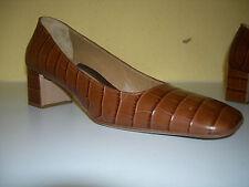LERRE Damen Schuhe Pumps Leder Kroko Braun Italy Gr.36,5 Neuw