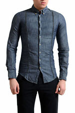 Dsquared2 Men's Blue Button Down Leather Trimmed Casual Shirt US 3XS IT 42