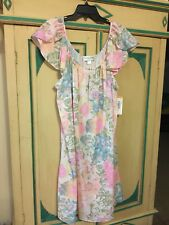 NWT Miss Elaine Woman Watercolor Gown Plus Size 2X 20 22 Pretty Pastels
