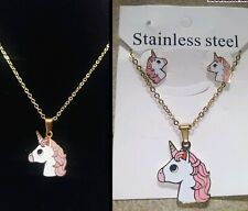 Unicorn jewelry set earrings and necklace stainless steel