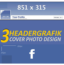 3x Profile Picture Design header graphic Facebook profile cover image for your account FB