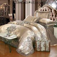 Luxury Jacquard Bedding Set Cotton Duvet Cover Lace Soft Satin Bed Sheet Set 4pc