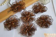 2pcs/lot brown beads floral sewing Floral Motif Venise Lace Applique for Garment
