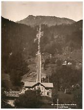 Suisse, Interlaken, chemin funiculaire de Mürren Vintage print Photomécanique