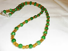 Handmade Ladies Jewellery Green & Yellow Crackle Glass Beads Necklace 24 in