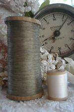 ANTIQUE VINTAGE FRENCH SPOOL SILVER METALLIC EMBROIDERY SEWING THREAD TINSEL