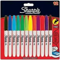 Sharpie Fine Point Permanent Marker Pens, Assorted Colours - 12 Pack