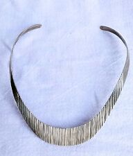 Texture Collar Cuff Necklace Taxco Sterling Torque Choker Ribbed