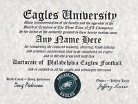 PHILADELPHIA EAGLES NFL FAN ~CERTIFICATE~DIPLOMA ~MAN CAVE~OFFICE SB