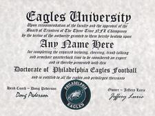 PHILADELPHIA EAGLES NFL FAN ~CERTIFICATE~DIPLOMA ~MAN CAVE~OFFICE #1 SPORTS GIFT