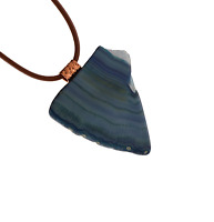 Mens Blue Green Agate Copper Pendant Artisan Necklace Heavy Leather Cord