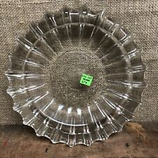 "Vintage Clear Heavy Glass Cigar Cigarette Molded Ashtray 10"" Diameter"