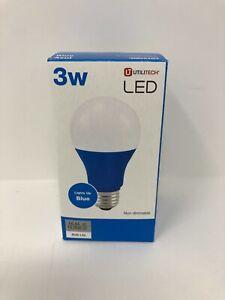 Utilitech UT LED A19 Clr Bulb Blue 3-Watt EQ 4.25-in A19 Blue Night Light