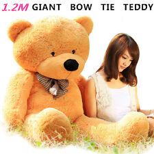 HUGE 120CM GIANT CARAMEL TEDDY BEAR BOW TIE CUDDLY SOFT PLUSH TOY DOLL STUFFED