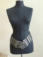 SUZI ROHER Metal Black Stretch Belt, New without Tags