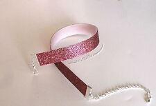 Glitzer-Halsband , Choker  ,- rosa.-feiner Glitter, schmal 16 mm,