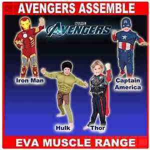 DELUXE AVENGERS THOR, HULK, IRONMAN & CAPTAIN AMERICA EVA MUSCLE COSTUME 3-8YRS