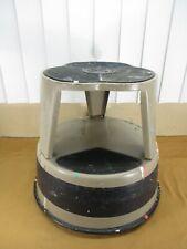 Vintage KIK-STEP Metal Rolling Step Industrial Cramer Stool Grey Black Garage