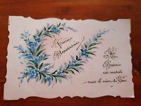 CPA Fantaisie dentelée fleurs myosotis carte ancienne de voeux anniversaire 1925