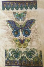 "Completed Cross Stitch, Papillons pain, Peacock Butterflies, 7 1/2"" by 14"""
